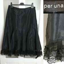 M&S Black Lace Organza Taffeta Skirt 14 L Kick Pleat Steampunk Victorian Gothic