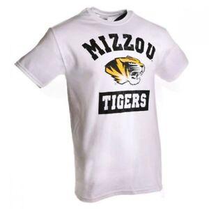 MISSOURI TIGERS NCAA DISTRESSED BLOCK PRINT WHITE S/S T SHIRT MENS SZ M L XL NWT