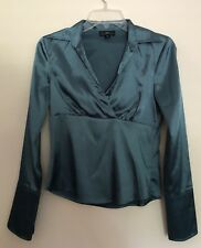 iz Byer California Womens Top Long Sleeve Small S Teal Blue Blouse French Cuff