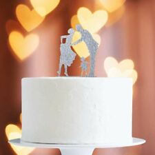 Silver Glitter Family Cake Topper x1 Baking Pick Decoration Wedding