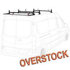 H1 3 Bar Aluminum Rack System (Black) with Roller (Black) for Transit Cargo Van