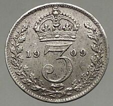 1909 Uk - Great Britain Silver Threepence Coin Edward Vii United Kingdom i56818