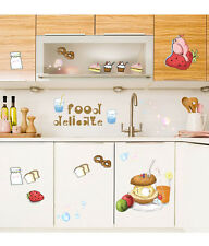 5700017 | Wall Stickers Kitchen Cabinet Decor Fruits Food Burger Drinks