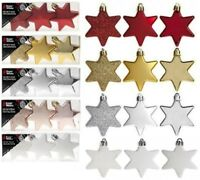 9 Pack 6cm (60mm) Christmas Tree Ornaments Hanging Stars Xmas Decor
