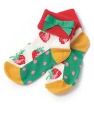 NEW Matilda Jane Happy & Free Lollycake Ankle Ruffle Strawberry Socks Size L