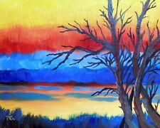 SUNSET LAKESIDE 8x10 NATURE LANDSCAPE Original Acrylic Painting by Patricia