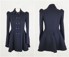 Topshop Princess Fit and Flare Riding Coat Vamp Victorian Steampunk Size 10 Blue