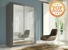 Lux 150 2 Door Sliding Wardrobe in grey full Mirror