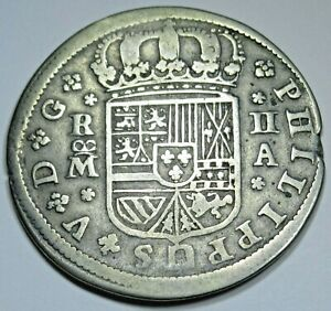 1721 Spanish Silver 2 Reales Genuine Antique 1700's Colonial Cross Pirate Coin