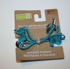 New Crazy 8 Sparkly Blue Butterfly Pony Holder Ponytail Hair Accessory NWT 2 pk