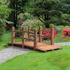 5-Foot Wooden Garden Bridge Arched with Arms Pathway Stream Pond Outdoor Decor