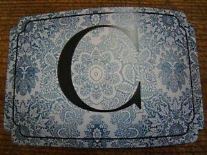 Lone Elm Studios Initial Rectangle Damask Vintage Blue White Sticker C