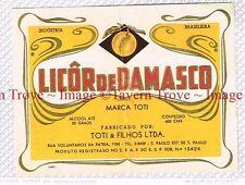 1940s BRASIL Sao Paulo Toti & Flihos Ltda Licor De Damasco Liqueur Label