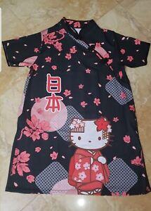 Black Hello Kitty Kimono Flowers Cheongsam Dress