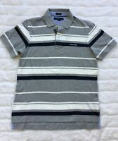 NEW Tommy Hilfiger Men's Short-Sleeve Gray White Striped Polo Shirt Size M, L