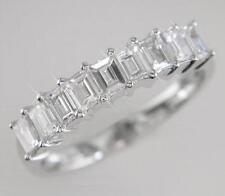 1.00ct D IF Emerald Cut Diamond Half Eternity Ring, 18ct White Gold, 9 Diamonds