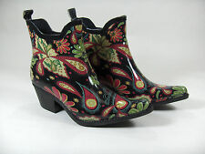 MADELINE WOMENS 5 RAIN ANKLE BOOTS COWBOY WESTERN POINTED TOE WILD DESIGN NEW