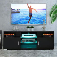"57"" TV Stand Cabinet w/LED Shelves 2 Door Modern Entertainment Center for 65"" TV"