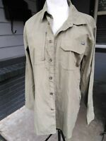 Mens SM Eddie Bauer Vented Mesh Fishing Shirt Olive Green Long Sleeve Polyester