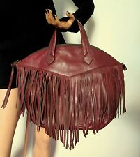 Christopher Kon Plum Wine Leather Fringed Front Sachel Handbag