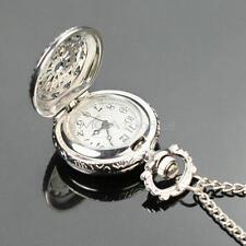 Mujer Hueco Reloj Cuarzo de Bolsillo con Cadena Colgante Collar Vintage Regalo