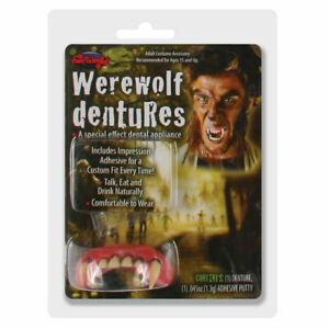 Deluxe Werewolf Teeth Adults Halloween Fancy Dress Accessory Wolf False Teeth