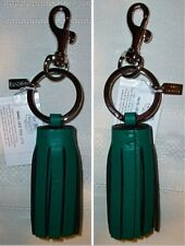 Coach Leather Legacy Single Tassel Keychain Key Fob Charm 62376 Emerald Green