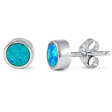 BEZEL SET BLUE FIRE OPAL ROUND STUDS .925 Sterling Silver Earring
