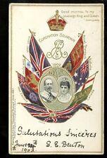 Royalty CORONATION Edward VII Alexandra u/b PPC 1902 Flags