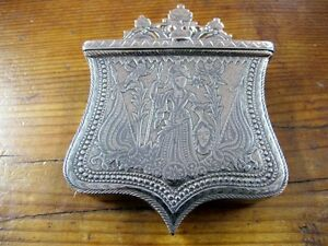 ANTIQUE SILVER NIELLO OFFICERS CARTRIDGE HOLDER, C1810