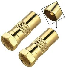 2 x GOLD F type Male Plug to Coax RF Aerial Plug Male Adapter Connectors