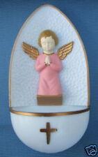 "Catholic Holy Water Font KNEELING Pink ANGEL 5"" plastic"