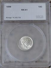 1898 Barber Dime Silver Dime 10 cent