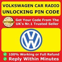 VW Volkswagen Radio Code PIN RCD510 RCD500 RCD315 RCD310 RCD300 Beta Gamma ✅