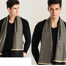 Gift!   Mens 100% Silk Mulberry Long Scarf/Cravat Double Layer Black ●MHH4