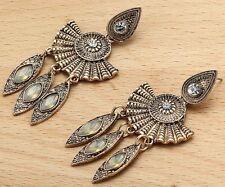 Long Ear Stud H 00004000 oop earrings 240 Woman's White Crystal Rhinestone Silver Plated