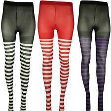 HALLOWEEN STRIPY TIGHTS WITCHES TIGHTS STRIPED HOSIERY RED BLACK PURPLE COSTUME