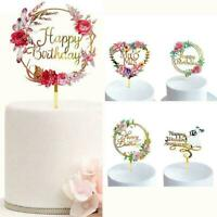 Cake Topper Birthday Party Happy Decoration Acrylic New Gold Glitter S2W8