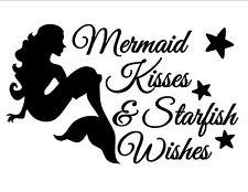 Mermaid Kisses Starfish Removable Vinyl Wall Door Window Art Decal Sticker Decor