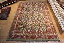 Gray, Blue, Brown, Rust Rug Southwestern style Kilim Wool Rug 10' X 7' wool rug
