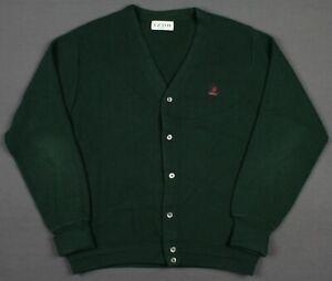 Izod Vintage USA 90's Crest Logo Button Cardigan Sweater Mens XL Green