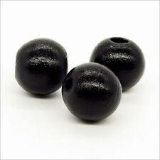 Lot de 20 Perles Rondes en Bois 16mm Noir