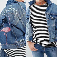 Fashion Embroidered Flamingo Loose Long Sleeve Denim Jacket coat For Women sell