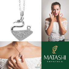 """16"""" 18K White Gold Plated Necklace w/ Graceful Swan & Clear Crystals by Matashi"""