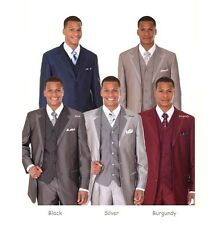 Men's Three Button Wool Feel Fashion Suit w/ Vest 5907 Two Tone Color