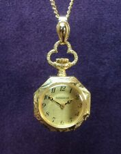 Serviced~Caravelle (Bulova) 17J Swiss Necklace Pendant Watch W/Gold Plated Chain