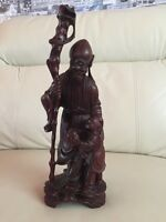 Vintage Wooden Carved Chinese Japanese Oriental Statue Figurine
