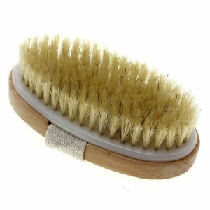 Touch Me Dry Skin Bath Body Brush Natural Boar Bristle Spa Sauna Exfoliator NEW