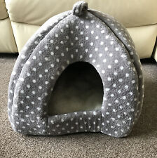 Pets At Home Igloo Cave Cat Bed With Cushion In Grey & White Spot, Hardly Used