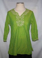 Shirt Tunic Blouse Max Size Medium Green Silver Embroidery Thread Beads Cotton